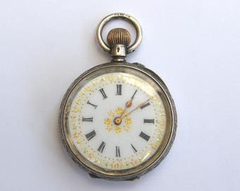 Antique-Swiss Solid Silver Ladies Pocket Watch With Gold/Enamel Face-GWO-circa 1900