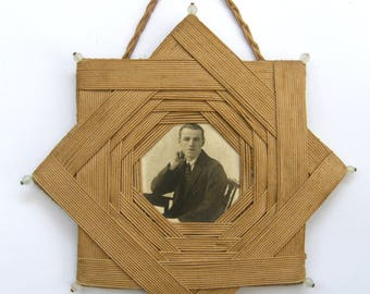 Vintage-Hand Made Woven Silk Star Of David/Jewish Picture Frame-circa 1920's