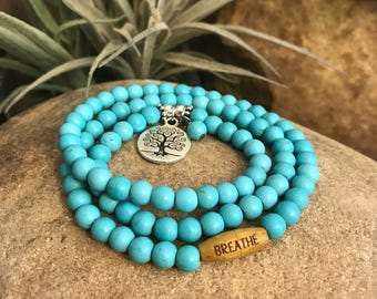 Breathe Wrap Bracelet, Yoga, Jewelry, Turquoise, Necklace, Tree of Life, Spiritual, Healing, Great gifts for yoga enthusiasts