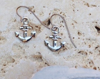 Anchors Away Titanium and silver earrings hypo allergenic titanium ear wires