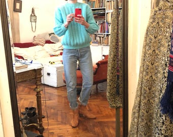 S/ M Vintage hand knit acqua turquoise wool ski sweater