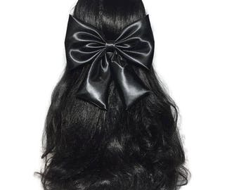 Black Hair Bow, Black Satin Hair Bow, Satin Big Bow, Wedding Pew Bow, Big Satin Bow, Handmade Bow, Wedding Bow, Bows For Girls  ELWT037