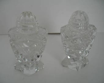 Vintage Pressed Glass Salt & Pepper Shakers With Screw Tops and Pedestal Base