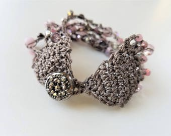 Pink And Taupe Beaded Cuff Bracelet, Bead Crochet, Antique Button, Silver Glass, Wedding Jewelry, Czech Glass Beads, Boho Bohemian Chic