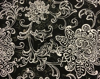 Classroom Door Safety Curtain--Black & White Scrolls NEW FABRIC