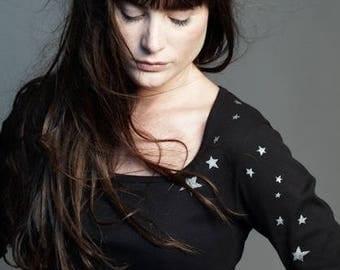Black neckline dancer 100% cotton t-shirt