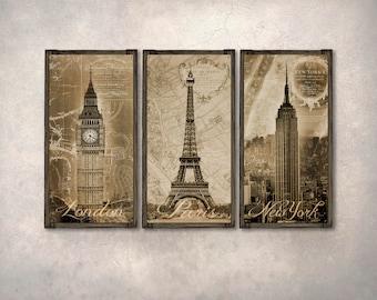 London Paris New York METAL Triptych on Barnwood Frames