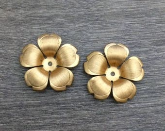 Brass Flowers, Flower Cabochons, Flower Charms, Raw Brass Stampings
