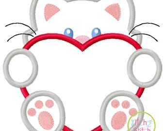 Valentines Peeker - Boy Kitty with Heart - custom Valentine shirt 3