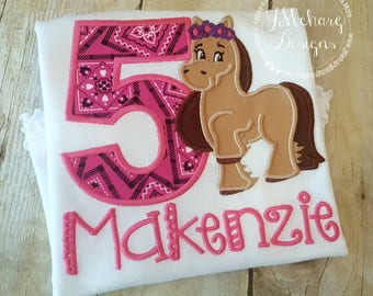 Horse Birthday Custom Embroidered Tee Shirt - Customizable 15 Western Birthday