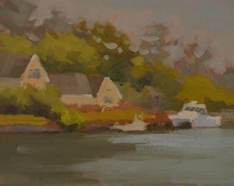 Sandbridge - Plein Air - Virginia Beach - Oil Painting - Eastern Shore - Beach - Canals - Boats - Vacation Home - Seaside - Coastal - Inlets