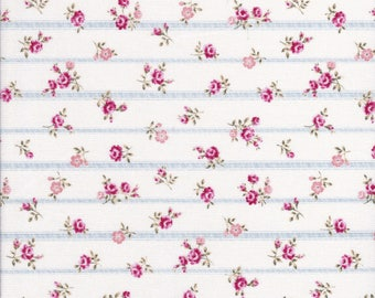 Flower Fields - Small Floral Fabric - Stripe Fabric - Rose Fabric - Lecien Fabric