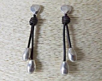 Leather earrings, leather jewelry, boho earrings, statement earrings, leather earring, dangle earrings, boho jewelry, handmade earrings