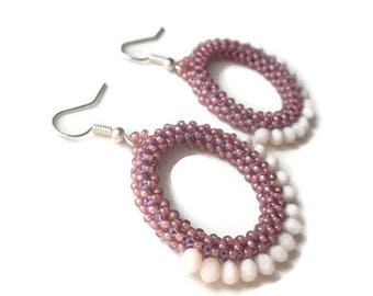 Pink/Purple Bohemian Style Bead Stitched Hoop Earrings with Cream Colored Crystals, Free Shipping in the U.S.!