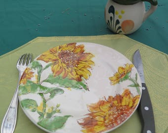 Placemat.Stain and water proof.Perfect hostess gift. oilcloth, cotton Jacquard. Fabric from Provence, France. paisley in light green