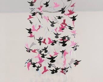 pink hummingbird mobile, nursery mobile, window decor, office decor, photo prop, wedding decoration, baby shower gift, baby shower decor