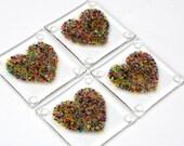 Fused Glass Heart Coasters - Set of 4
