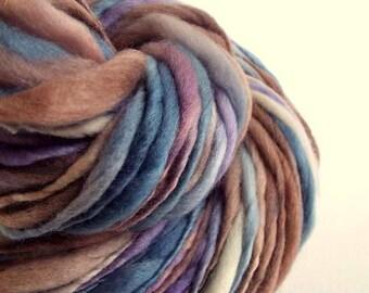 Pastel thick and thin yarn, chunky merino knitting wool, denim blue and mushroom browns and purples, big knitting wool