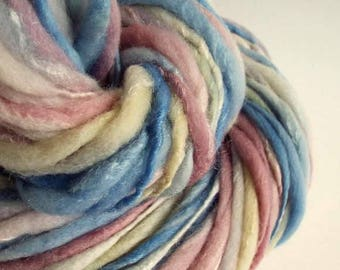 Pastel handspun, hand dyed, merino and soybean yarn, knitting yarn / wool, thick blue, pink ivory and yellow wool