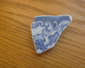 blue and white patterned brooch, ecofriendly sea pottery brooch