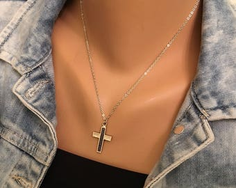 Unisex Silver Cross Necklace, Patriotic Necklace, Religious Jewelry, Blessing Cross Jewelry, Christian Catholic Wear Gift For Her, Christmas