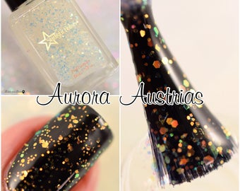 Aurora Australis Iridescent Color Shifting Glitter Effect Top Coat Nail Lacquer Starlight and Sparkles Polish
