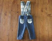 Newborn Photography Overalls -Upcycled 100% Cashmere Blue Pants with Blue, White & Olive Green Plaid Suspenders - Ready To Ship