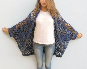 Women One Size Cocoon CARDIGAN SWEATER Crochet Knit Casual Overall Plus Size Over Size