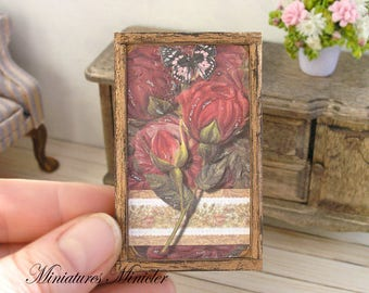 Miniature Dollhouse Framed Painting - Still Life Of Butterfly And Roses