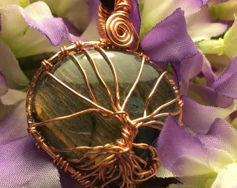 Tree of Life on Purple Flash Labradorite Polished Gemstone.  Labradorite is considered by mystics to be a stone of transformation 40.85 Cts
