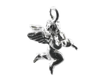 Sterling Silver Cherub Playing The Violin  Charm For Bracelets