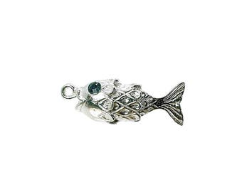 Sterling Silver Moving Fish With Faceted Crystal Sapphire Eyes Charm For Bracelets