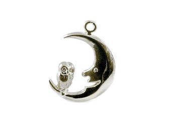 Sterling Silver Owl & Moon Charm For Bracelets