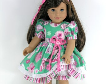 Handmade Doll Clothes for 18 inch American Girl - Dress, Bloomers, Headband - Pink, Green Butterfly Floral Stripe - Shoes, Socks Option