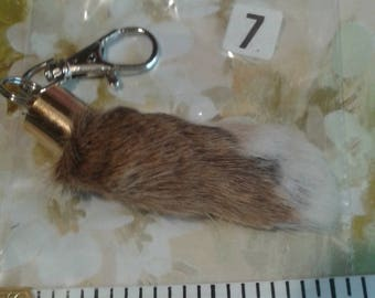 A LUCKY  No 7 Real medium white and brown Lucky Rabbit FOOT KEYRING, pelt, hide,