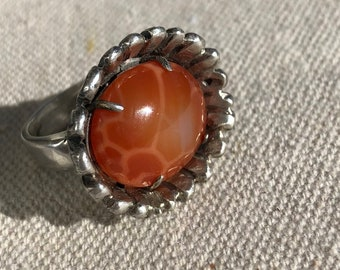 Silver Flower Ring Orange Snakeskin Agate Handcarved Wax Casting Organic Floral Statement Wearable Art Birthstone