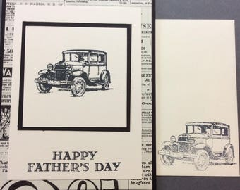 male, vintage car, newspaper print, black, white, father's day, birthday, card, stampin up
