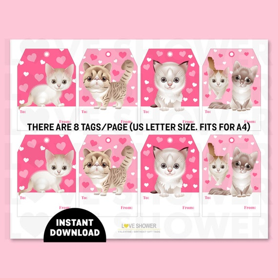Cute Kittens Printable Valentine Gift Tags Birthday Gift Blank