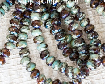 5x3mm Opaque Sky Blue Amber Picasso Czech Glass Rondelle Beads, 30 Beads, 3x5mm Sky Blue Amber Picasso Rondelle Beads, 4982