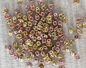 Metallic California Pink Superduo Beads, 15 Grams, Metallic California Pink 2 Hole Super Duo Bead, 5173, Matubo California Pink Superduo