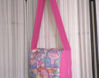 Little girls pink messenger style bag with Ballerina print