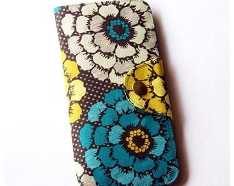 SALE 20% Grey and Blue Floral Long Passport Wallet, Boarding Pass Holder, Family Passport Wallet