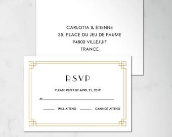 Reply Card | Digital RSVP Card | Printed RSVP Card | Printed Reply Card | Art deco RSVP Card | Gatsby rsvp Card | Art Deco Wedding, Carlotta