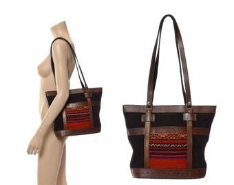 Vintage 80s Tooled Leather and Suede Shoulder Bag 1980s Wool Kilim Indian Tapestry Accents Boho Hippie Bucket Purse Shoulder Handbag