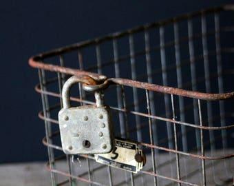 Vintage Metal Rusted Rustic Wire Locker Basket with Lock