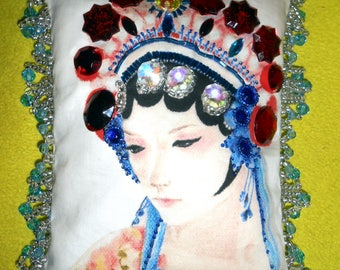 BEADED PORTRAIT PILLOW 6.5x8.5, Asian Woman, My Original Painting Printed on Fabric, Beaded/Jeweled Tiny Accent Pillow, Free Shipping