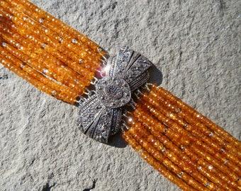 Mandarin Garnet Bracelet,Multi Strand Gemstone Bracelet,Repurposed Brooch Bracelet,Deco Brooch Bracelet,Orange Gemstone Jewelry,Garnet Cuff