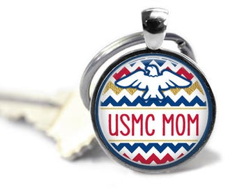 USMC key chain - USMC Mom - United States Marine Corps - US Marine gifts - My son is my hero - My son wears combat boots - Proud of my son