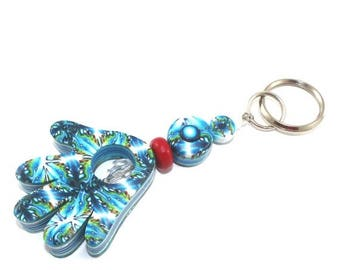CIJ SALE Handmade hamsa, blessing and luck polymer clay Hamsa keychain, Accessories, handmade keychain in blue, white and turquoise