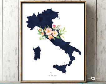 Italy Map Wall Art, Italy Map Print, Italy Watercolor Print, Italy Map Poster, Italy Watercolor Map, Italia, Italy Flower Watercolor Map